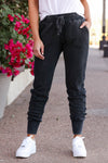 Chilly Day Joggers - Vintage Black womens trendy vintage washed joggers closet candy close up