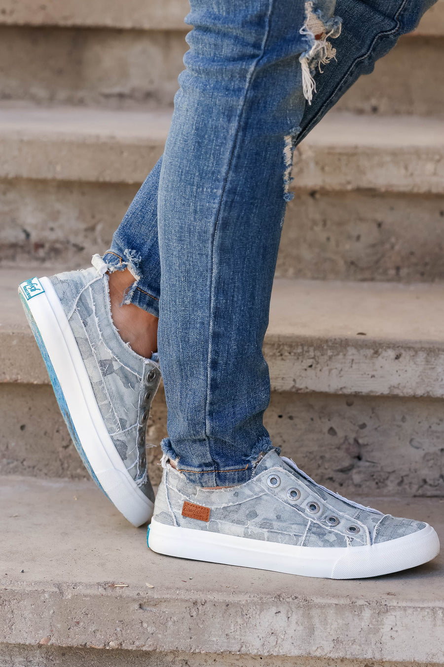 Wherever You Wander Sneakers - Grey Camo womens trendy slip on sneakers closet candy front