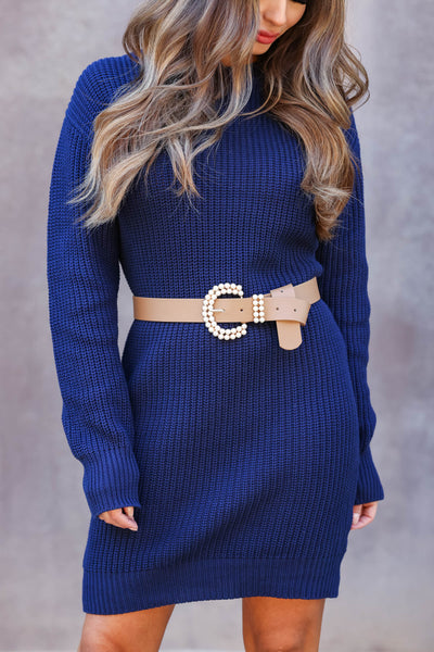 CBRAND Self Made Sweater Dress - Navy womens trendy relaxed sweater dress closet candy close up
