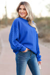 New Traditions Cable Knit Sleeve Sweater - Cobalt Blue closet candy womens sweater 1