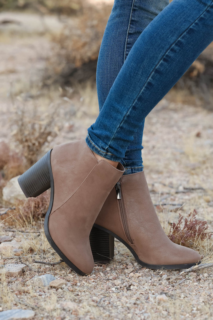 Bad With Directions Booties - Taupe