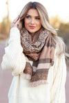 Thinking of Paris Leopard and Stripe Scarf - camel closet candy womens contract scarves 1