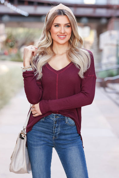 Back Together Waffle Knit Top - Wine closet candy womens long sleeve shirt 1