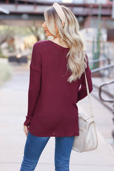 Back Together Waffle Knit Top - Wine closet candy womens long sleeve shirt back
