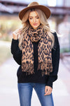 Take Notice Leopard Fringe Scarf - Brown closet candy women's accessories 1
