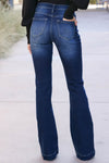 KANCAN Marissa Exposed Button Flare Jeans - Dark Wash closet candy womens wide leg denim back