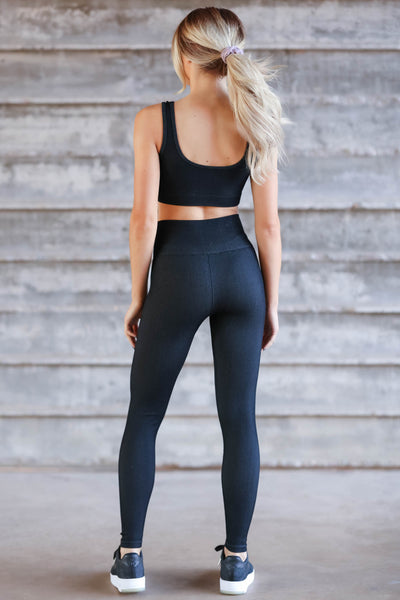 Casual Moves Ribbed Seamless Activewear - Black closet candy womens workout wear back