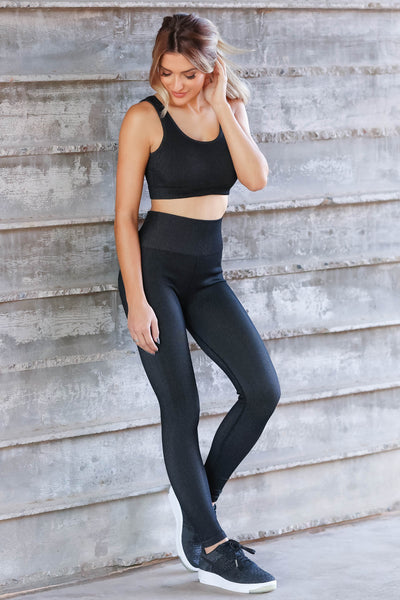 Casual Moves Ribbed Seamless Activewear - Black closet candy womens workout wear 1