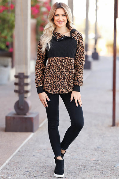 CBRAND Most Wanted Fleece Pullover - Leopard. closet candy womens outerwear  full body 2