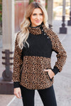 CBRAND Most Wanted Fleece Pullover - Leopard. closet candy womens outerwear close up