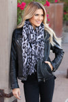 Take Notice Leopard Fringe Scarf - Black closet candy trendy soft womens scaves 1