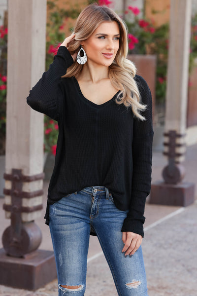 Back Together Waffle Knit Top - black closet candy womens long sleeve shirt 2