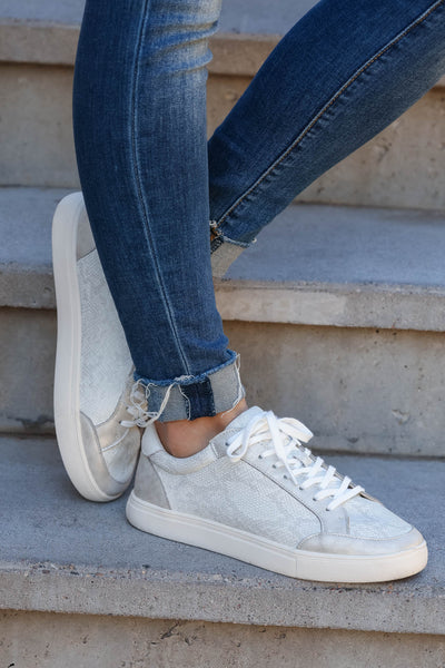 Cold Hearted Metallic Snake Print Sneakers - White closet candy womens shoes 4