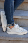 Cold Hearted Metallic Snake Print Sneakers - White closet candy womens shoes 5
