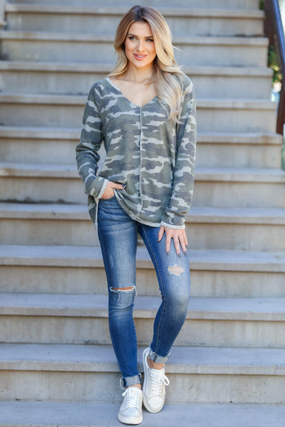Be Seen Camo Print Waffle Knit Top - Olive closet candy women trendy v-neck top 3