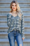 Be Seen Camo Print Waffle Knit Top - Olive closet candy women trendy v-neck top 1