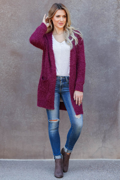 Fall With Me Popcorn Cardigan - wine womens cozy popcorn open front cardigan closet candy front2