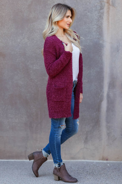 Fall With Me Popcorn Cardigan - wine womens cozy popcorn open front cardigan closet candy side