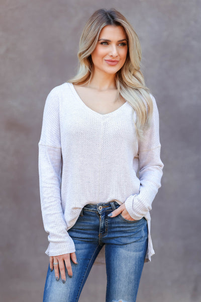 Back Together Waffle Knit Top - oatmeal closet candy womens long sleeve shirt 1