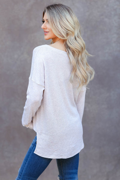 Back Together Waffle Knit Top - oatmeal closet candy womens long sleeve shirt back