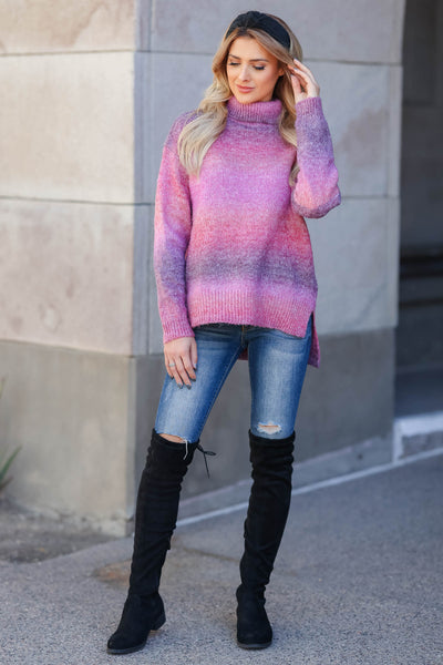 Keep Me Close Ombre Sweater - Berry closet candy womens turtleneck full 1