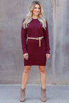 CBRAND Self Made Sweater Dress - Wine closet candy womens long sleeve dress 3