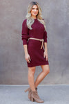 CBRAND Self Made Sweater Dress - Wine closet candy womens long sleeve dress side
