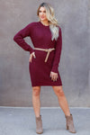 CBRAND Self Made Sweater Dress - Wine closet candy womens long sleeve dress 2