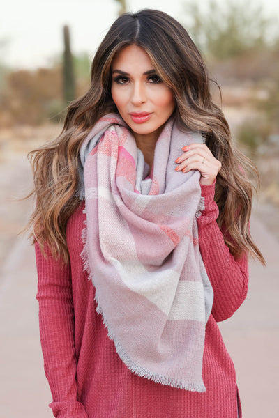 Finishing Touch Blanket Scarf - Pink closet candy womens plaid scarves 2