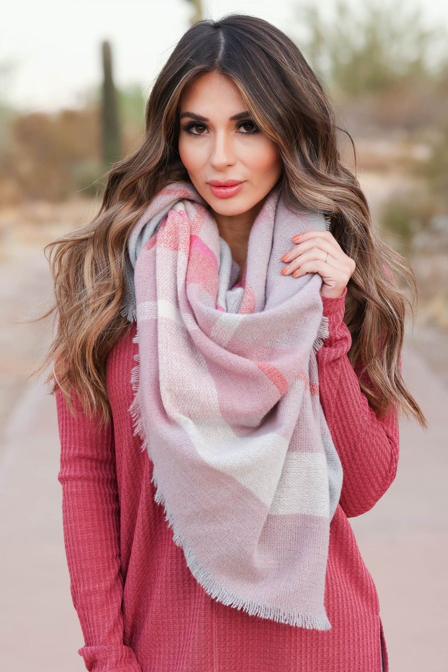 Finishing Touch Blanket Scarf - Pink closet candy womens plaid scarves 1