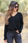 Mi Amor Lace Trim Sweater - Black closet candy women's shirt 1