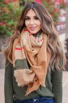 Finishing Touch Blanket Scarf - Khaki closet candy womens plaid scarf 1