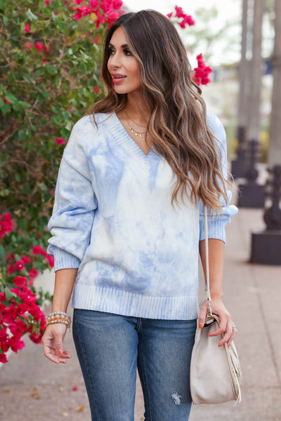 CBRAND Sky's The Limit Tie Dye Sweater - Blue closet candy womens trendy v-neck 2