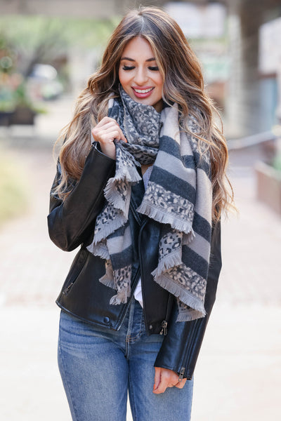 Thinking of Paris Leopard and Stripe Scarf - Grey closet candy womens contract scarves 1