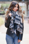 Thinking of Paris Leopard and Stripe Scarf - Grey closet candy womens contract scarves 3