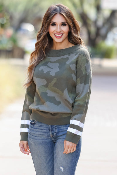Center Of Attention Camo Top - Olive closet candy womens off the shoulder sweater 4