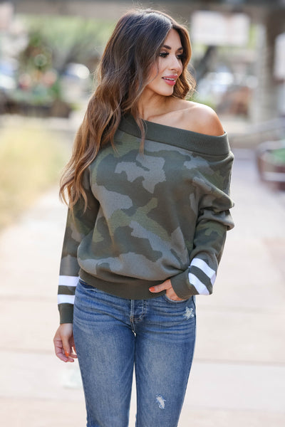 Center Of Attention Camo Top - Olive closet candy womens off the shoulder sweater 1
