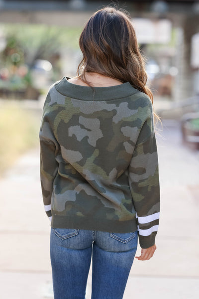 Center Of Attention Camo Top - Olive closet candy womens off the shoulder sweater back