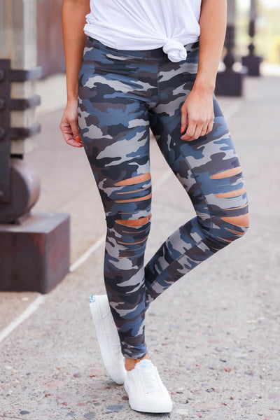 Be Different Camo Leggings - Blue & Grey womens destroyed printed pants closet candy 1