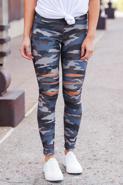 Be Different Camo Leggings - Blue & Grey womens destroyed printed pants closet candy close front