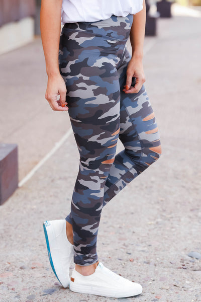 Be Different Camo Leggings - Blue & Grey womens destroyed printed pants closet candy side