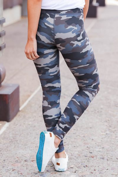 Be Different Camo Leggings - Blue & Grey womens destroyed printed pants closet candy back