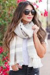 Thinking of Paris Leopard and Stripe Scarf - Ivory closet candy womens contract scarves 1