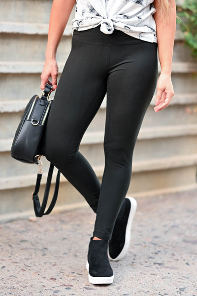 CBRAND Essential Leggings - Black women's high-rise leggings featuring hidden pocket in waistband, superior stitching technology and a buttery-soft, barely there, weightless fit closet candy close up