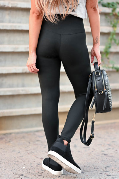 CBRAND Essential Leggings - Black women's high-rise leggings featuring hidden pocket in waistband, superior stitching technology and a buttery-soft, barely there, weightless fit closet candy back