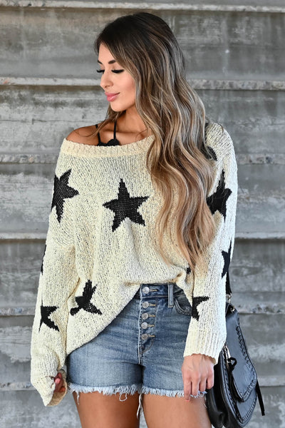 Wishes Fulfilled Star Sweater - Cream & Black omen's knit sweater featuring round neckline, drop shoulders, long sleeves, and ribbed trim closet candy close up