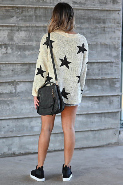 Wishes Fulfilled Star Sweater - Cream & Black omen's knit sweater featuring round neckline, drop shoulders, long sleeves, and ribbed trim closet candy back
