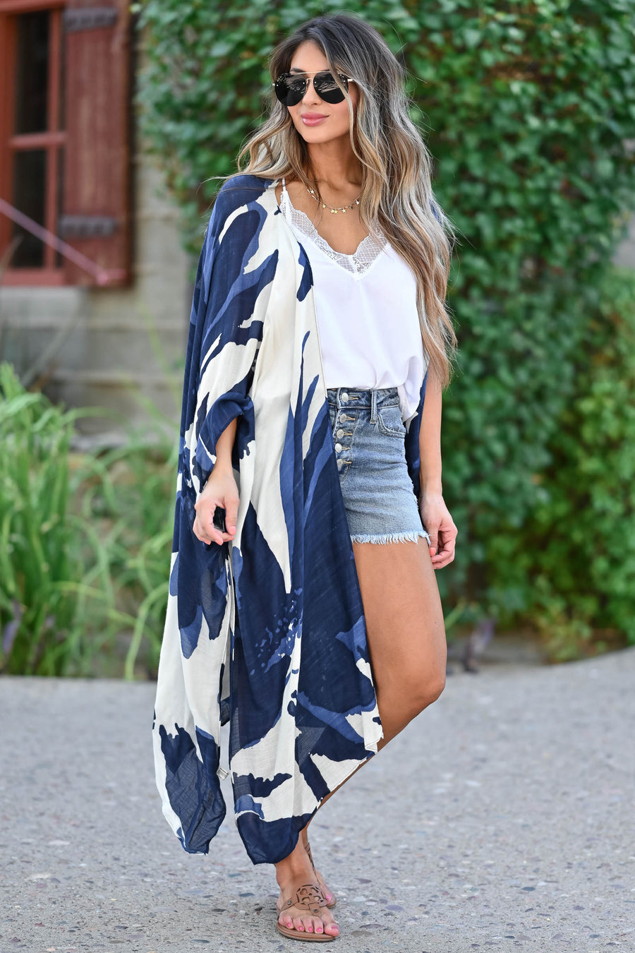 Can't Look Away Kimono - Navy women's open-front draped kimono with side slit details. One size fits most closet candy front