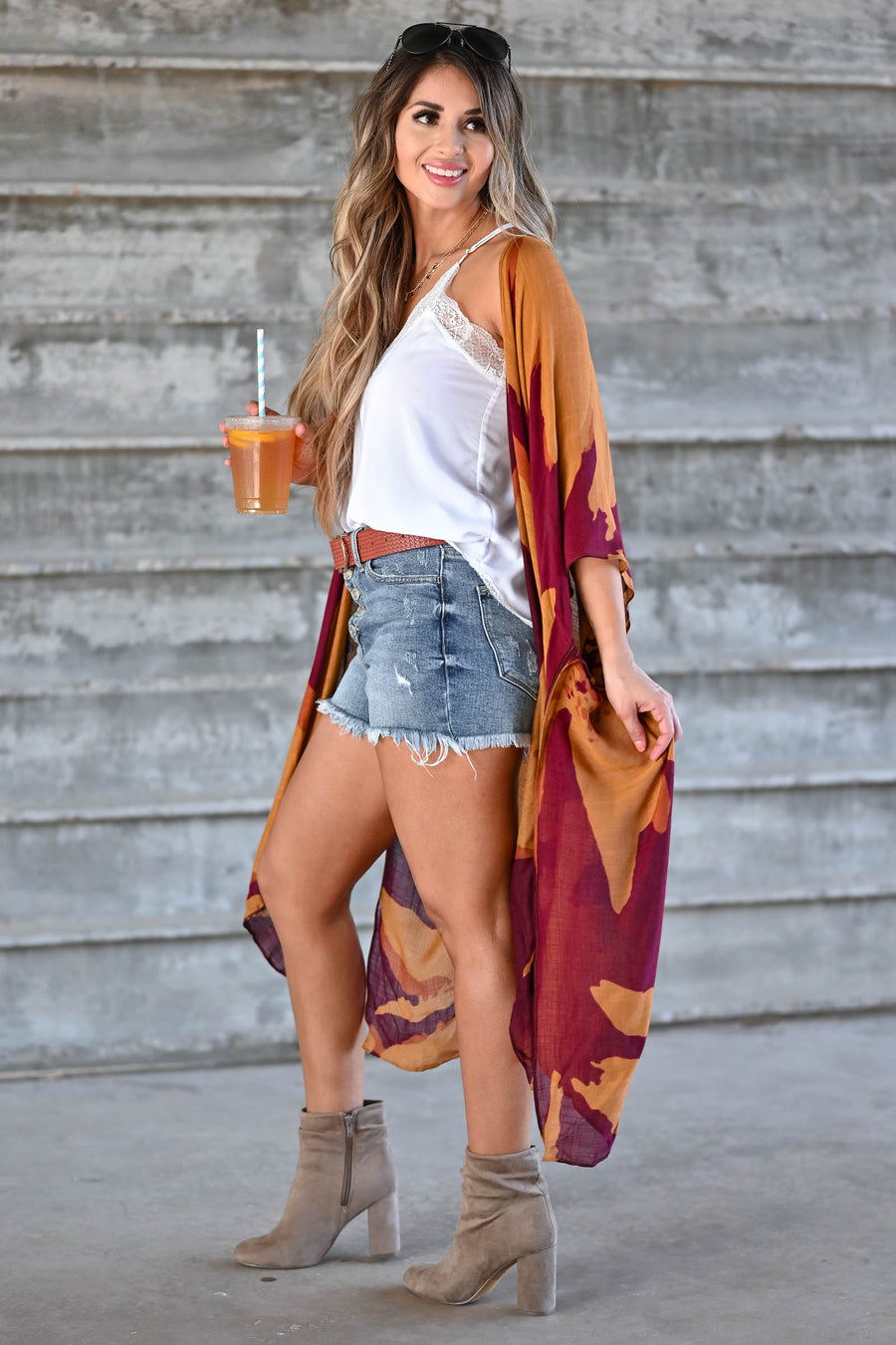 Can't Look Away Kimono - Rust women's open-front draped kimono with side slit details. One size fits most closet candy front