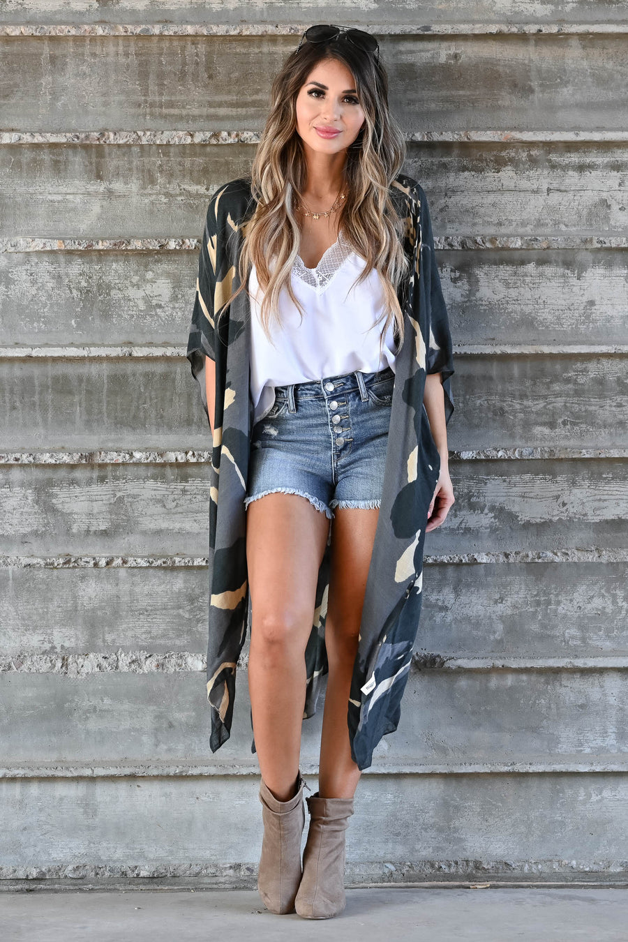 Can't Look Away Kimono - Charcoal women's open-front draped kimono with side slit details. One size fits most closet candy side